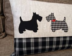 Scottish Terrier Pillow 30x55 cm. Linen by CozyRiverCottage