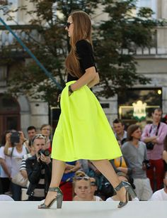 neon yellow skater skirt with chunky pumps