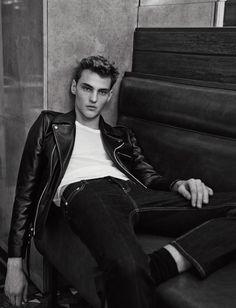 Max Esken Dons Black Leather Biker Jacket for Sandro Men Spring/Summer 2015 Campaign