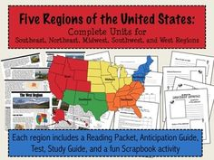 Regions of the United States: 5 Complete Units with Informational Text & more