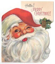 Vintage Greeting Card Christmas Santa Claus Head Die-Cut Glittered Beard