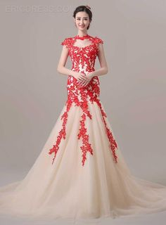 Cap Sleeves Court Train Lace Evening Dress Elegant Evening Dresses- ericdress.com 11182643