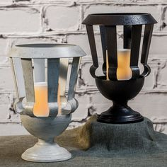 "Metal Urn + 6"" Outdoor LED Candle by Candle Impressoins Flameless LED Candles. This would look fabulous on a front porch for some traditional curb appeal."