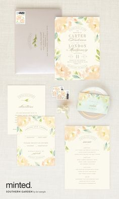 A southern garden wedding invitation stationary design: http://www.minted.com/product/wedding-invitations/MIN-OIS-INV/southern-garden?utm_medium=social&utm_source=pinterest&utm_sub=stylemepretty&utm_campaign=SMPFPB1216&utm_content=southern_garden Artist: Lori Wemple