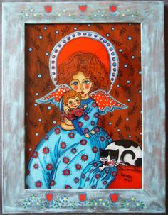 The angel and little Simon acrylic glass painting picture folk art child cat baby boy Jesus Christ maternity mother day red blue flowers merry gift cheerful present souvenir religious catholic traditional rustic vivid simple tomcat holy colourful wall decoration room stylish romantic folklore colorful vibrant vivacious christening baptism communion care guardian craft rural