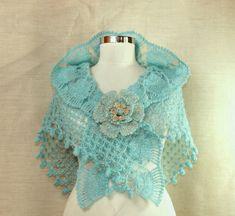 Coral Blue / Crochet Aquamarine Bridal Shawl Wrap MADE by LILITHIST. Etsy Shop- Lilithist