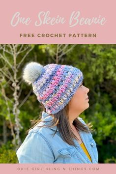 I love one skein patterns! Especially ones that are cute and quick. This one skein bulky beanie pattern can either be topped with a pom or without. . . . . #freecrochetpattern #oneskeincrochetpattern #oneskeinbulkybeanie #oneskeinbeaniecrochetpattern #wintercrochetpattern #hatcrochetpattern #okiegirlblingnthings