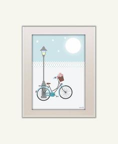KIDS room decor,kids decor, nursery prints, prints illustration,kids wall art, PRINTABLE POSTER, childrens art, blue bike, bike prints