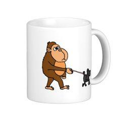 Funny Gorilla Walking Black Poodle Dog Coffee Mugs #girillas #funny #mugs #poodles #walking #leash And www.zazzle.com/petspower*