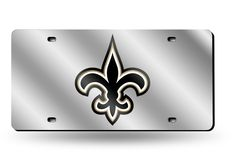 "New Orleans Saints ""FLEUR DE LIS"" Laser Etched License Plate/Tag (Silver)"