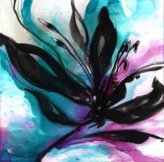 Organic Impressions... No16   Original Large Floral Painting  by Kathy Morton Stanion, $300.00