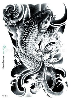 Koi Tattoo/temporary tattoo flash tattoo fake by FlashTattoosLA Koi Dragon Tattoo, Pez Koi Tattoo, Carp Tattoo, Tatto Koi, Dragon Tattoos, Neue Tattoos, Bild Tattoos, Body Art Tattoos, Sleeve Tattoos