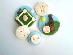 Button Baseball  polymer clay button set   ( 5 )