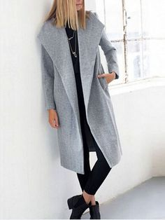 Grey Lapel Long Sleeve Pockets Loose Coat 36.22