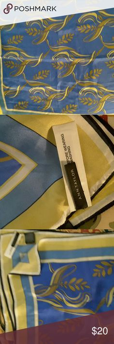 """Ann Taylor silk scarf Blue and gold 25"""" silk scarf, new never worn Ann Taylor Accessories Scarves & Wraps"""