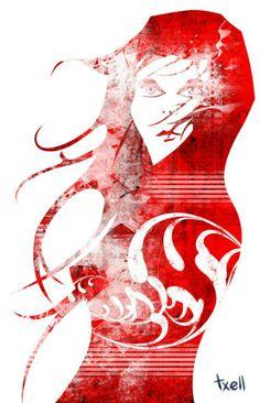 """""""Chica"""" Boceto a lápiz vectorizado con Illustrator. Coloreado con Photoshop."""