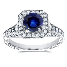 Annello by Kobelli 14k Gold Sapphire and 3/5ct TDW Diamond Halo Antique Milgrain Ring, Women's