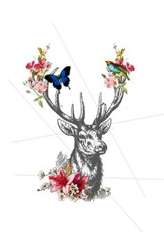 Instant download #deer #flower #garland #poster #printable by Southpacific on Etsy $5.00