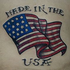 made in the usa tattoo I like this made in the USA flag tattoo design. Patriotische Tattoos, Neue Tattoos, Girl Tattoos, Sleeve Tattoos, Tattoos For Guys, Tattoos For Women, Tatoos, State Tattoos, Forarm Tattoos