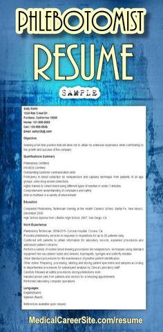 httpmedicalcareersitecom201112phlebotomist resume - Phlebotomy Cover Letter Sample