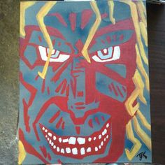 'In Faces Of Madness', TJKernan, 2012. Acrylic and various paints. One of my favorite pieces. For sale, Inquire for pricing.