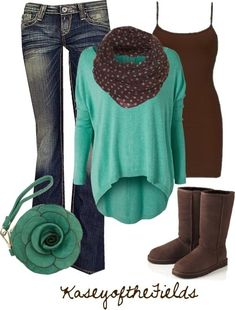 outfit by KaseyoftheFields- high low long sleeve sea foam green shirt, chocolate brown and sea foam green spotted infinite scarf, chocolate brown Uggs and tank top, worn jeans, and flower coin purse