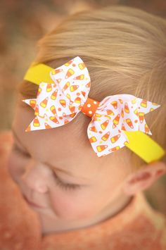 Candy Corn Halloween Pinwheel Baby Headband by KinleyKate on Etsy