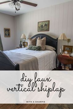 DIY faux vertical shiplap with a Sharpie paint pen. This project is so easy to do and it looks like real shiplap. Diy Home Decor Projects, Easy Diy Projects, Furniture Projects, Diy Furniture, Decor Ideas, Diy Ideas, Sharpie Wall, Sharpie Paint Pens, Painting Shiplap