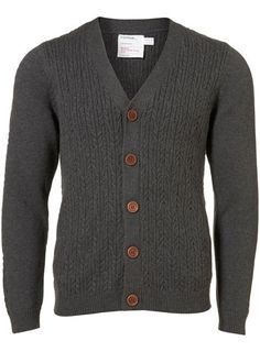 cable twist v-neck cardigan in charcoal