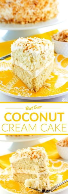 This recipe for Coconut Cream Cake is so tender, and it is deliciously covered in Coconut Swiss Meringue Buttercream and beautifully toasted coconut. Easter Dessert   Easter Recipe   Spring Dessert   Spring Recipe   Coconut Layer Cake