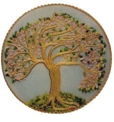 """It's officially Spring in our part of the world and this goldwork tree - """"Spring"""" - is from the Beginner's Guide to Goldwork by Ruth Chamberlin."""