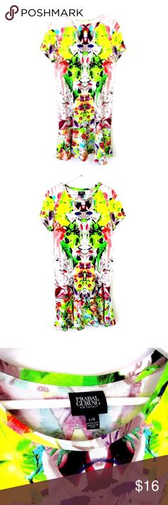 """Prabal Gurung Target T-Shirt Dress Ruffle Bottom L Brand: Prabal Gurung for Target Style:  T-Shirt Dress with Ruffle Bottom Size:  Large Color/Pattern: Bright Multicolor Floral, kaleidoscope  Material:  60% Cotton, 40% Modal, Skirt: 100% Polyester Measurements taken flat:   -Across under arm: 20"""" -Shoulder to hem: 37"""" Care Instructions: Machine wash, tumble dry  Condition: No flaws Prabal Gurung for Target Dresses Midi"""