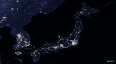 Korean Peninsula and Japan at night.