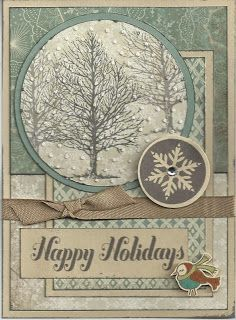 Love the trees and layering - Diary of a Scrapbook Addict: Three Amigo's Close to My Heart Christmas Cards To Make, Noel Christmas, Xmas Cards, Handmade Christmas, Holiday Cards, Nouvel An, Winter Cards, Paper Cards, Cool Cards