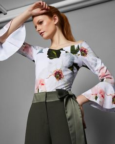 f7be0ece92b Chatsworth Bloom bell sleeved top - White | Tops And Tees | Ted Baker Ted  Baker