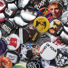 """YOUR CHOICE 24 Indie Band Pins or Badges Mostly UK from 1000s of Titles - Cherry Pick your favorite 2 Dozen 1.25"""" Buttons by psychedelictara"""