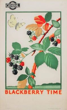 Blackberry time, by Irene Fawkes, 1923 Published by Underground Electric Railways Company Ltd, 1923 Printed by Eyre & Spottiswoode, Format: Double royal Dimensions: Width: Height: Reference number: London Poster, London Map, Museum Poster, London Transport Museum, Railway Posters, Train Posters, Nostalgia, Nature Posters, Vintage Travel Posters