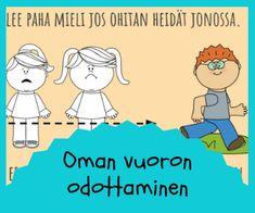 ystävyys ja leikkitaidot Finnish Language, Social Skills, Classroom Management, Family Guy, Mindfulness, Feelings, Comics, Kids, Fictional Characters