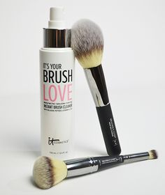 Who said cleaning your brushes couldn't be fun?  Treat your fluffy makeup tools to Brush Love - your one-step solution to cleanse, disinfect, and condition your makeup brushes.
