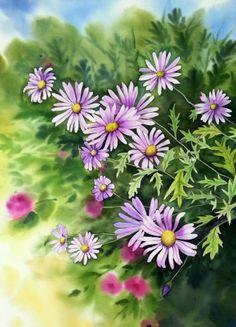 햇살이 유난히 좋았던 가을길을 가다 화분에 한가득 핀 꽃을 사진으로 찍었고그걸 수채화로 그렸습니다. 줄...
