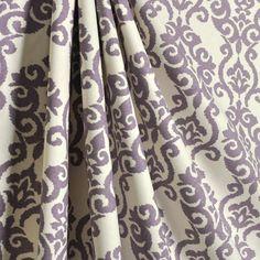 "Two 50"" wide rod pocket designer curtain panels, drapes Waverly Luminary damask Lilac grape by kirtamdesigns on Etsy"