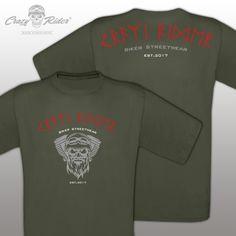 Schädel mit Bart und Runen T-Shirt Männer  Biker Streetwear Shop