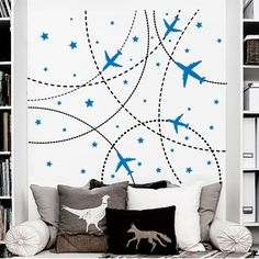 Wall Decals Airplane Decal Nursery Baby Boy Room by DecalHouse