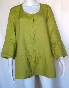 FLAX UNDERFLAX Southern Belle Top, Palm Green Linen, M, Sleepwear / Blouse, NWOT #Flax #Blouse