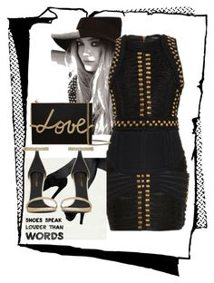 """""""Untitled #221"""" by jovana-p-com ❤ liked on Polyvore featuring mode, Balmain, Lanvin, Oliver Gal Artist Co. en Yves Saint Laurent"""