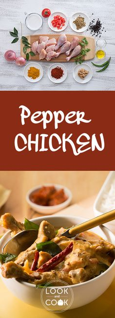 PEPPER CHICKEN RECIPE ( This indian style Pepper chicken recipe, is a spicy curry dish made with coconut milk. Pepper chicken is best eaten with rice. Different Chicken Recipes, Recipes With Chicken And Peppers, Chicken Stuffed Peppers, Pepper Chicken, Meat Sauce Recipes, Veg Recipes, Indian Food Recipes, Cooking Recipes, Lamb Recipes