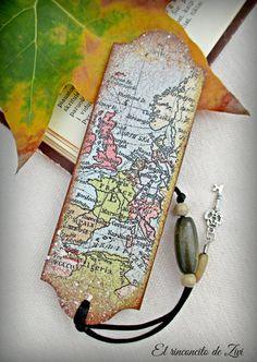 marcapaginas mapa vintage madera decoupage, marcapaginas madera, accesorio libro, mapas vintage, regalo navidad, regalo viajeros, libros