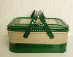 RARE Vintage Tin Metal Picnic Basket, Hunter Green Basket Weave Lithograph w/ Metal Swing Handles