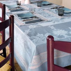 Garnier Thiebaut Tablecloth - Renaissance Lagon (Blue) 190x250cm by French Dressing