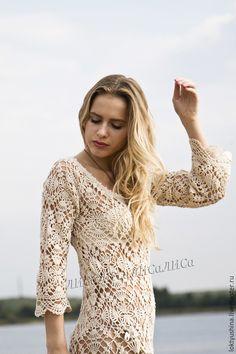 """Купить Платье """" Романтика"""". - платье, вязаное платье, платье крючком, платье из хлопка"""